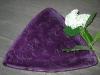 purple-triangular platter with white flower